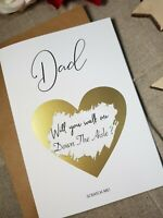 Will you walk me down the aisle Dad wedding proposal personalised scratch WP2