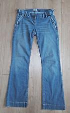 "RIVER ISLAND Low Rise Faded Zip Jeans Blue Denim Straight Leg Size 10 L29"""