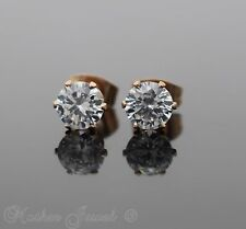 6MM ROUND SIMULATED DIAMOND 14K ROSE GOLD IP STUD MENS WOMENS GIRLS EARRINGS