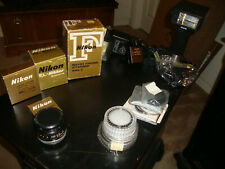 Lot of Nikon camera accessories, lens, filters, lens hood, flashes bellows focus