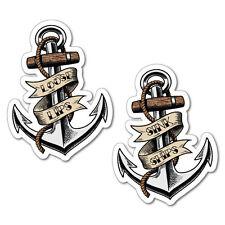1 x Pair Loose Lips Sink Ships Anchors Sticker Tattoo Art Sailor