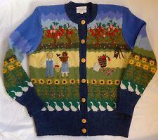 Vtg. 90's Susan Bristol Wool Cardigan Sweater Apple Tree Farm Sunflower Geese