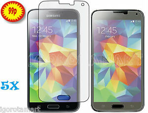5 X SCREEN PROTECTOR PROTECTIVE FILM SAVER FOR SAMSUNG GALAXY S5 S V i9600