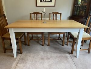 SOLID OAK Family Dining Table 160x84cm Seats 6+ French Country Cottagecore