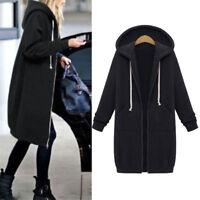 Women Warm Zipper Hoodie Sweater Hooded Long Jacket Coat Sweatshirt Plus Size