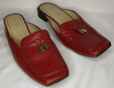 Ralph Lauren Shoes Red LRL Flats Slides Mules Textured Leather Loafer Style 9 B