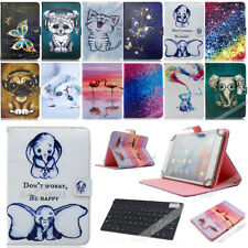 """Universal Printed Leather Case Cover w/ Wireless Keyboard For 7"""" inch Tab Tablet"""