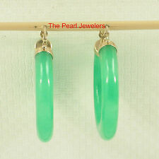14k Yellow Gold Featuring 5mm Tube Ring Made of Green Jade Hook earrings TPJ