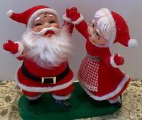 Vintage Christmas Santa & Mrs Claus Flocked Plastic Dancing Figures Adler Japan