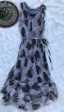 SIMPLY VERA WANG Womens Size Small Gray Dot Print HI LO Maxi DRESS Chiffon Overl