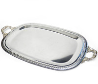 """Vintage Stainless Steel Serving Tray with Silverplate Handles 17"""" Long x 10.5"""" W"""