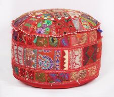Indian Bohemian Ottoman Foot Stool Poufs Vintage Ethnic Poofs Cover