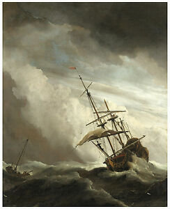 "Maritime ""A Ship on the High Seas Caught by a Squall"" van de Velde ca.1680"