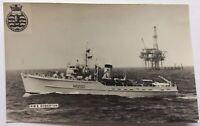 Royal Navy HMS Soberton Postcard Size Real Photo