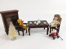 Dollhouse Vtg Room Vignette Christmas Tea Party 14 pc Lot Bisque Doll DR Set