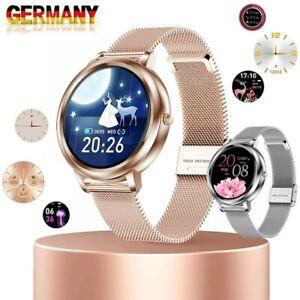 Damen Edelstahl Smartwatch Armband Herzfrequenz Monitor Fitness Tracker Sportuhr