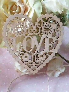 Laser Cut Intricate Love Heart For Hanging - Wood Ply - Rustic, Love, Wedding