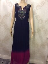 NEW M&S Per Una Embroidered Long Dress Summer Evening Wear Navy Size 18 EUR 46