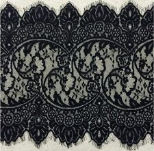 3 Yards Black Floral Embroidered Eyelash French Mesh Lace Trim 13 inches Wide
