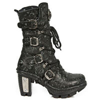 NewRock NEW ROCK NEOTR005S25 VINTAGE BLACK GOTHIC ROCK PUNK LADIES LEATHER BOOTS
