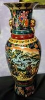 """Satsuma Style Floor Vase 24"""" Tall Excellent Condition. Lion Handles"""