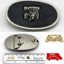Led Zeppelin Metal Oval Belt Buckle Enameled Black / Silver Colour