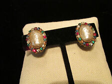Vintage MIRIAM HASKELL Baroque Pearl Multicolor Rhinestones Clip Earrings