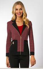 Misook Black Graphite Pink Red Ottaman Stripes Zip Front Jacket L