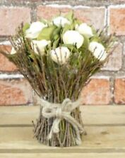 Wooden Cream Rose Floral Bouquet - Encased Within A Natural Twig Framework