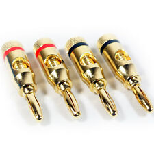 4x Premium -4mm Banana Plugs -24k Gold Plated- Speaker Cable/Amp HiFi Connectors