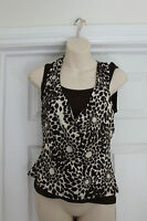 Ladies Brown Flower Print Lycra Top Size 12 Stretchy Evening Party