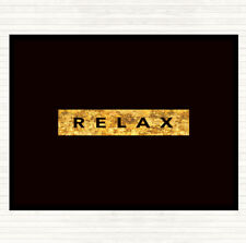 Black Gold Dark Relax Quote Dinner Table Placemat