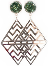 Handmade Forest Green Aztec Diamond Dangle Plugs - Sizes 6g to 1inch