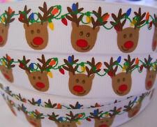 "REINDEER CHRISTMAS LIGHTS Grosgrain Ribbon 7/8"" Clip Card cake 2 yds 5 yds DCD"