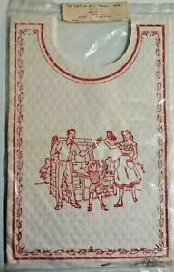 Vintage 10 Catch-All Adult Bbq Bibs White With Red New Old Stock/New In Package