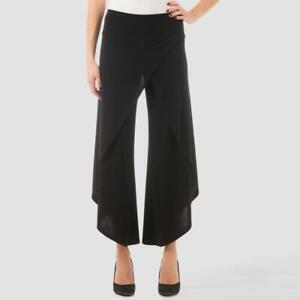 Joseph Ribkoff Black Asymmetrical Pants Front Wrap Stretch Size 12 Pull On