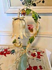 Vtg italian Metal Tole iron Floral leaf tulip table vanity Nightstand lamp