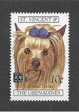 Dog Art Portrait Postage Stamp Yorkshire Silky Terrier Saint Vincent Adult Mnh
