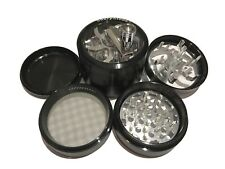 "SharpStone® 2.5"" Inch 4pc Crank Top Herb Tobacco Large Black Grinder + Extras"