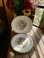 "Two2 Left Quban Royal China 10"" Dinner Plates Pink Yellow Roses Floral 22k Gold"