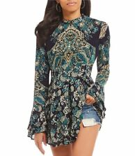 FREE PEOPLE  Lady Luck Printed Bell Sleeve Tunic Top