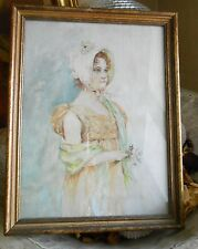 Antique Oil Painting on Canvas/Linen, Young Lady, Looks Early Victorian