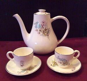 "Vintage Myott Coffee Pot With 2  Cups & Saucers -  ""Pastoral"" Design (#L280)"