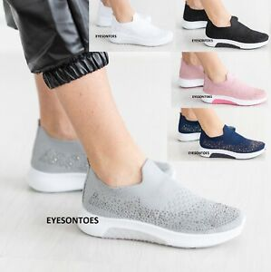 WOMENS LADIES SLIP ON SOCK FITNESS GYM SPORTS PUMPS SNEAKERS TRAINERS SHOES SIZE