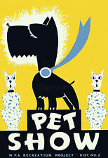 VINTAGE DOG PET SHOW A4 POSTER PRINT