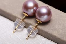 charming pair of 10-11mm AAA round lavender pearl stud  earring 18k