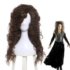 Halloween Bellatrix Lestrange Curly Brown Hair Unisex Party Cosplay Full Wig