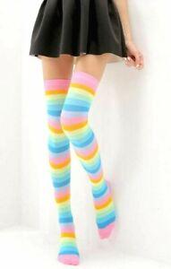 New Pansexual Transgeder Knee Highs Socks Rocker Rainbow LGBT Gay Pride Stripe