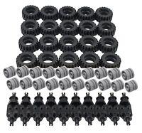 ☀️NEW! Lego 30.4 X 14 Tire, GRAY Wheel and Technic Axles Bulk Lot  50 Pieces