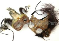 Couple Masquerade Ball Lace Feather Mask Jester Pair Dress Up costume prom party